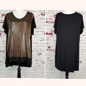 CHICO'S Gold Sequined Black Blouse Women's 3 XL-16
